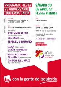 FIESTA 25 ANIVERSARIO DE IU EN LAS VISTILLAS EL SÁBADO 30-ABRIL