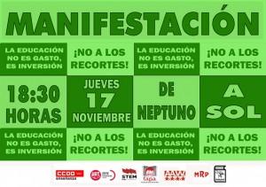 Huelga en educación el próximo 17 de Noviembre