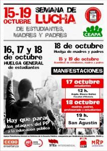 IU apoya y se suma a las acciones en defensa de la escuela pública durante la semana del 15 de octubre
