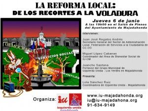 Acto sobre la reforma local . Jueves 6 de junio a las 19:00