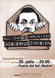 Concentración el 30 de julio – Carta a firmantes: El caso Bárcenas pasa a otra dimensión – Nulidad es impunidad. Gobierno dimisión