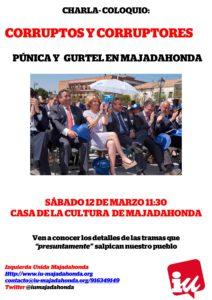 """Organizamos la charla-coloquio  """"Corruptos y corruptores: Púnica y Gurtel en Majadahonda"""""""