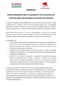 IU y SOMOS proponen tres acuerdos de mínimos para que prospere la moción de censura