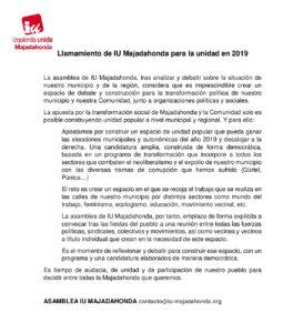 Llamamiento de IU Majadahonda para la unidad en 2019