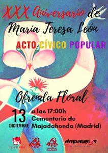 Homenaje a María Teresa León en el 30º aniversario de su fallecimiento